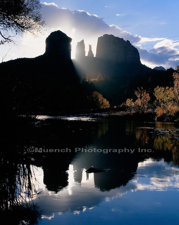 """Sunrise on Cathedral Rocks, Oak Creek Canyon   ARIZONA"""