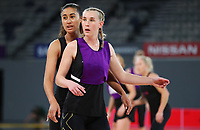22.09.2018 Silver Ferns Michaela Sokolich-Beatson and Maria Folau in action during Silver Ferns training in Melbourne. Mandatory Photo Credit ©Michael Bradley.