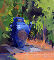 "Rolled Canvas Print: 1110706 - Blue Vase -- Image Size 24 x 26 5/8""   on a 30 x 33 Canvas. 2""  Grey Border on sides for stretching Acrylic Painting by Marcia Burtt"