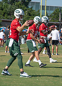 New York Jets quarterbacks Josh McCown (15), Sam Darnold (14), and Teddy Bridgewater (5), participate in in a drill during a joint training camp practice with the Washington Redskins at the Washington Redskins Bon Secours Training Facility in Richmond, Virginia on Tuesday, August 14, 2018.<br /> Credit: Ron Sachs / CNP<br /> (RESTRICTION: NO New York or New Jersey Newspapers or newspapers within a 75 mile radius of New York City)