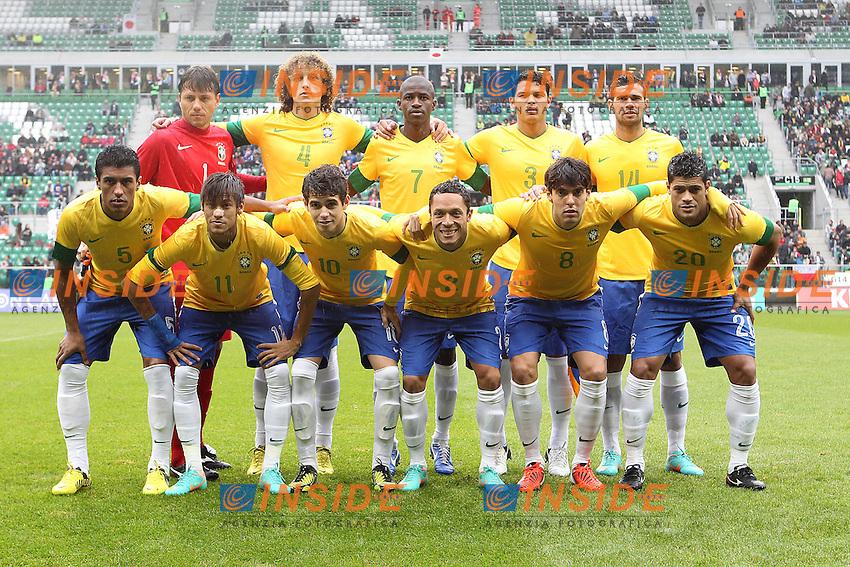 Formazione Brasile.Wroclaw Polonia 16/10/2012.Football friendly Calcio amichevole.Brasile v Giappone.Foto Insidefoto Paolo Nucci.