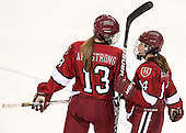 Kalley Armstrong (Harvard - 13), Jillian Dempsey (Harvard - 14) - The Boston College Eagles defeated the visiting Harvard University Crimson 3-1 in their NCAA quarterfinal matchup on Saturday, March 16, 2013, at Kelley Rink in Conte Forum in Chestnut Hill, Massachusetts.