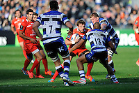 Maxime Médard of Stade Toulousain finds his way blocked by Jonathan Joseph of Bath Rugby during the European Rugby Champions Cup  Round 2 match between Bath Rugby and Stade Toulousain at The Recreation Ground on Saturday 25th October 2014 (Photo by Rob Munro)