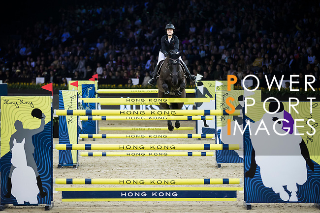 Reed Kessler of the USA riding Tradition de la Roque competes in the Longines Grand Prix during the Longines Masters of Hong Kong at AsiaWorld-Expo on 11 February 2018, in Hong Kong, Hong Kong. Photo by Ian Walton / Power Sport Images