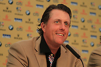 Phil Mickelson at USA's press conference at the 2010 Ryder Cup at the Celtic Manor, Newport, Wales, 4th October 2010..Picture Manus O'Reilly/www.golffile.ie