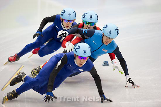 Trent Nelson     The Salt Lake Tribune.Mens' 1000m, semifinal 1, Short Track Speed Skating, at the XXI Olympic Winter Games in Vancouver, Saturday, February 20, 2010. Lee Ho-Suk 242, Lee Jung-Su 243, Francois Hamelin 206, J.R. Celski 252