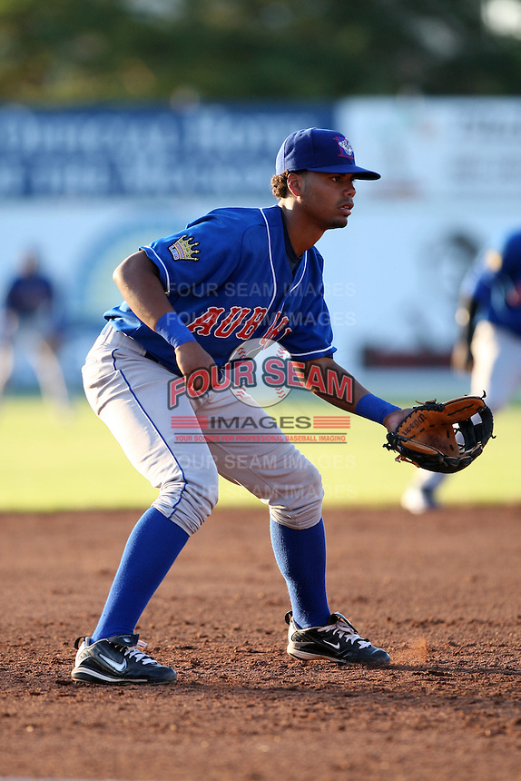 Auburn Doubledays Third Baseman Andy Fermin (4) during a game vs. the Batavia Muckdogs at Dwyer Stadium in Batavia, New York July 2, 2010.   Batavia defeated Auburn 6-3.  Photo By Mike Janes/Four Seam Images