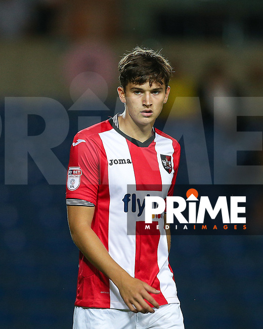Jordan Storey of Exeter City during the The Checkatrade Trophy match between Oxford United and Exeter City at the Kassam Stadium, Oxford, England on 30 August 2016. Photo by Andy Rowland / PRiME Media Images.