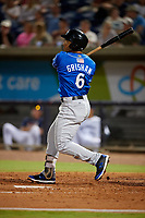 Biloxi Shuckers Trent Grisham (6) hits a home run during a Southern League game against the Pensacola Blue Wahoos on May 3, 2019 at Admiral Fetterman Field in Pensacola, Florida.  Pensacola defeated Biloxi 10-8.  (Mike Janes/Four Seam Images)