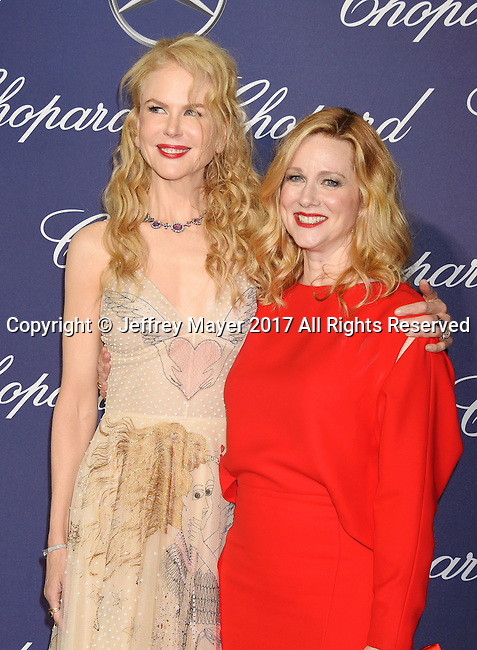 PALM SPRINGS, CA - JANUARY 02: Actresses Nicole Kidman (L) and Laura Linney attend the 28th Annual Palm Springs International Film Festival Film Awards Gala at the Palm Springs Convention Center on January 2, 2017 in Palm Springs, California.