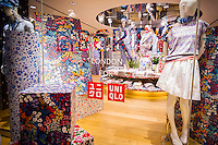 The Uniqlo store on Fifth Avenue in New York on Thursday, March 24, 2016 featuring the merchandise in the collaboration between Uniqlo and Liberty London, a company known mostly for its distinctive floral patterned fashions. (©Richard B. Levine)