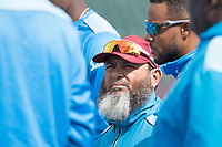 Mushtaq Ahmed surrounded by the West Indian team at the morning huddle during West Indies vs New Zealand, ICC World Cup Warm-Up Match Cricket at the Bristol County Ground on 28th May 2019
