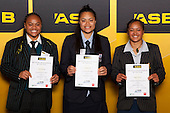 Girls Rugby Union finalists Mele Hufanga, Johana Su'a and Maggie Wanoa. ASB College Sport Young Sportsperson of the Year Awards held at Eden Park, Auckland, on November 24th 2011.