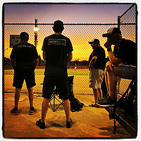 VACAVILLE, CA - JULY 16: iPhone Instagram of nervous fathers watching the Mill Valley Little League 11's All Stars during the section 1 tournament at John Arlington Park on July 16, 2019 in Vacaville, California. (Photo by Brad Mangin)