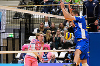 GRONINGEN - Volleybal, Lycurgus - Zwolle, Eredivisie, seizoen 2018-2019, 27-10-2018,  blok van Lycurgus speler Niels de Vries