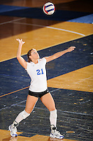 20 November 2008:  Middle Tennessee defensive specialist Katie Brush (21) serves during the Middle Tennessee 3-0 victory over Arkansas State in the first round of the Sun Belt Conference Championship tournament at FIU Stadium in Miami, Florida.