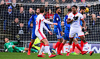 Chuks Aneke of Mk Dons celebrates after he scores to make it 1-0 during the Sky Bet League 1 match between MK Dons and Peterborough at stadium:mk, Milton Keynes, England on 30 December 2017. Photo by Bradley Collyer / PRiME Media Images.