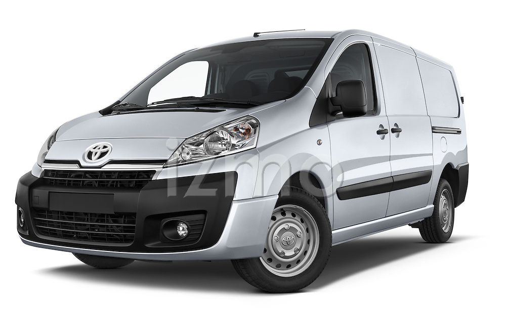 Stock pictures of low aggressive front three quarter view of a 2013 Toyota Proace Comfort 5 Door Cargo Van Low Aggressive