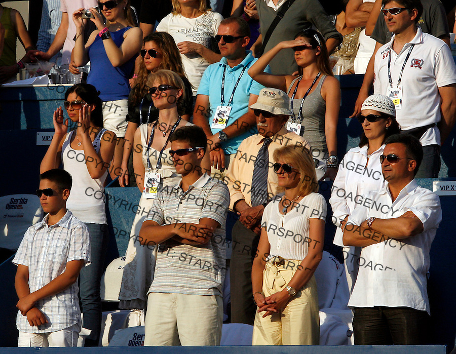 Tenis, ATP 250.Serbia Open 2009, final match, finale.Novak Djokovic Vs. Lukasz Kubot, Poland.from left, Djordje Djokovic, Marko Djokovic, Dijana Djokovic and Srdjan Djokovic.Beograd, 10.05.2009..Foto: Srdjan Stevanovic/starsportphoto.com ©