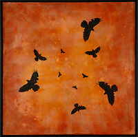 Murder of crows mixed media encaustic photo transfer by Jeff League.