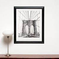 "D'Amore: Brooklyn Bridge, Digital Print, Image Dims. 24"" x 19.5"", Framed Dims. 33.5"" x 28"" , film art"