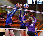 November 22, 2019; Rapid City, SD, USA; Watertown vs Sioux Falls O'Gorman at the 2019 South Dakota State Volleyball Championships at the Rushmore Plaza Civic Center in Rapid City, S.D. (Richard Carlson/Inertia)