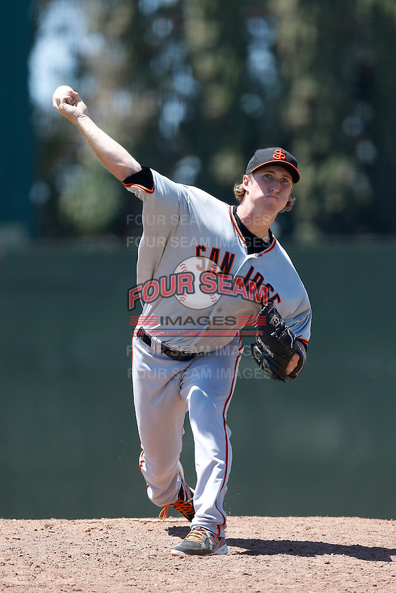 Stephen Harrold #54 of the San Jose Giants pitches against the Bakersfield Blaze at Sam Lynn Ballpark on August 4, 2013 in Bakersfield, California. San Jose defeated Bakersfield, 7-4. (Larry Goren/Four Seam Images)