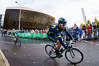 Picture by Alex Whitehead/SWpix.com - 10/09/2017 - Cycling - OVO Energy Tour of Britain - Stage 8, Worcester to Cardiff - Gorka Izagirre (Movistar) rides past the Millennium Centre near the stage finish in Cardiff.