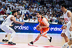 Real Madrid's player Jeffery Taylor and Gustavo Ayon and Valencia Basket's Rafa Martinez during the first match of the Semi Finals of Liga Endesa Playoff at Barclaycard Center in Madrid. June 02. 2016. (ALTERPHOTOS/Borja B.Hojas)