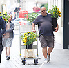 Andrew Marr Show Show <br /> arrivals<br /> at the BBC, Broadcasting House, London, Great Britain <br /> 23rd July 2017 <br /> <br /> Obese man delivering sunflowers to the BBC  <br /> <br /> Photograph by Elliott Franks <br /> Image licensed to Elliott Franks Photography Services