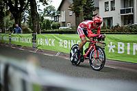 Marcel Kittel (DEU/Katusha Alpecin) about to finish his TT.<br /> <br /> Binckbank Tour 2018 (UCI World Tour)<br /> Stage 2: ITT Venray (NL) 12.7km