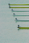 Rowing, Racing shells at the start, Numbered bows, FISA World Rowing Championships, Idroscalo Park, Milan, Lombardy, Italy, Europe,.
