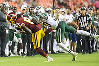 Landover, MD - August 16, 2018: Washington Redskins wide receiver Cam Sims (89) catches a pass during the preseason game between New York Jets and Washington Redskins at FedEx Field in Landover, MD.   (Photo by Elliott Brown/Media Images International)