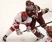 Sammy Davis (BU - 16), Andie Anastos (BC - 23) - The Boston College Eagles defeated the Boston University Terriers 3-2 in the first round of the Beanpot on Monday, January 31, 2017, at Matthews Arena in Boston, Massachusetts.