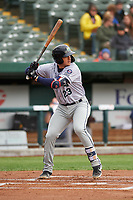 Cedar Rapids Kernels Ben Rodriguez (23) at bat during a Midwest League game against the South Bend Cubs at Four Winds Field on May 8, 2019 in South Bend, Indiana. South Bend defeated Cedar Rapids 2-1. (Zachary Lucy/Four Seam Images)