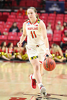 College Park, MD - March 25, 2019: Maryland Terrapins guard Taylor Mikesell (11) dribbles the ball during game between UCLA and Maryland at  Xfinity Center in College Park, MD.  (Photo by Elliott Brown/Media Images International)