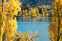 This photo of autumn trees and Lake Wakatipu was taken from the Queenstown Botanic Gardens. Queenstown is an incredibly scenic place to visit all year round, but with the added factor of stunning orange trees lining Lake Wakatipu's banks, autumn is particularly picturesque.