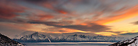 Winter landscape of clouds over Chugach Mountains including Pioneer Peak and Twin Peaks during sunset  panoramic<br /> <br /> Photo by Jeff Schultz/SchultzPhoto.com  (C) 2018  ALL RIGHTS RESERVED