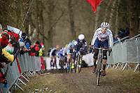 Helen Wyman (GBR/Kona) leading the race in the first lap<br /> <br /> Elite Women's Race<br /> <br /> 2015 UCI World Championships Cyclocross <br /> Tabor, Czech Republic