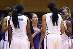 30 October 2014: Duke head coach Joanne P. McCallie (center) talks to her team during a timeout. The Duke University Blue Devils hosted the Limestone College Saints at Cameron Indoor Stadium in Durham, North Carolina in an NCAA Women's Basketball exhibition game. Duke won the game 100-33.