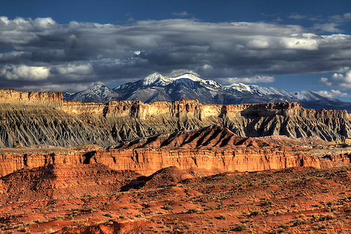 The snow-capped Henry Mountains as seen from Capital Reef National Park, Utah