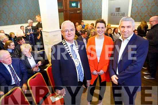 The  launch of the Listowel Business & Community Alliance at the Butler Centre Listowel on Monday. Pictured John Lucid, Cathaoirleach of Listowel Municipal District, Cllr Aoife Thornton. Kerry County Council, Stephen Stack, Chairperson Listowel Business & Community Alliance