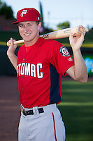 Potomac Nationals outfielder Andrew Stevenson (1) poses for a photo prior to the game against the Winston-Salem Dash at BB&T Ballpark on May 13, 2016 in Winston-Salem, North Carolina.  The Dash defeated the Nationals 5-4 in 11 innings.  (Brian Westerholt/Four Seam Images)