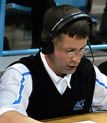 Tar Heel Women's Basketball public address announcer Michael Copeland welcomes back UNC for the second half. (Photo by Rob Rowe)