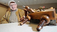 NWA Media/ J.T. Wampler - Gale Hairston talks about his antique molding plane Wednesday Dec. 31, 2014 at the Shiloh Museum in Springdale.