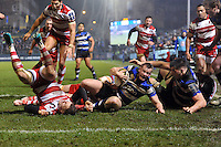 Chris Cook of Bath Rugby looks to reach the try-line. Anglo-Welsh Cup match, between Bath Rugby and Gloucester Rugby on January 27, 2017 at the Recreation Ground in Bath, England. Photo by: Patrick Khachfe / Onside Images
