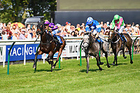Winner of The Shadwell Stud Racing Excellence Apprentice Handicap, Ashazuri ridden by Pierre-Louis Jamin and trained by Jonathan Portman during Father's Day Racing at Salisbury Racecourse on 18th June 2017