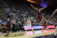 BERKELEY, CA - January 29, 2017: Cal Bears Men's Basketball team vs. the Stanford Cardinal at Haas Pavilion. Final score, Cal Bears 66, Stanford Cardinal 55.