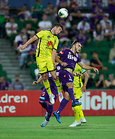 7th February 2020; HBF Park, Perth, Western Australia, Australia; A League Football, Perth Glory versus Wellington Phoenix; Tim Payne of Wellington Phoenix wins the header against Nicholas D'Agostino of the Perth Glory