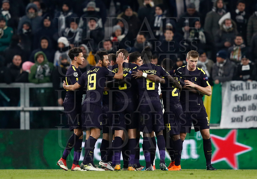 Football Soccer: UEFA Champions League Juventus vs Tottenahm Hotspurs FC Round of 16 1st leg, Allianz Stadium. Turin, Italy, February 13, 2018. <br /> Tottenham's Christian Eriksen celebrates with his teammates after scoring during the Uefa Champions League football soccer match between Juventus and Tottenahm Hotspurs FC at Allianz Stadium in Turin, February 13, 2018.<br /> UPDATE IMAGES PRESS/Isabella Bonotto